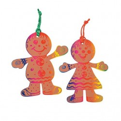 Magic Scratch Gingerbread Ornaments 24 pack
