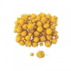 Yellow Tinsel Pom-Poms - 100pack