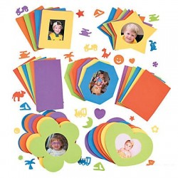 Coloured Foam Picture Frames & Shapes - 30pack