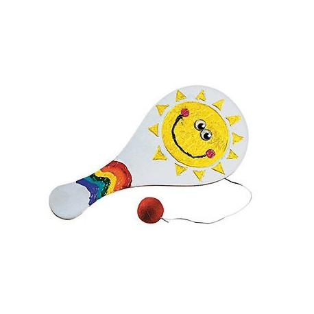 Wooden Colour Your Own Paddle ball Games