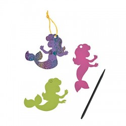Magic Scratch mermaid Ornaments -12 pack