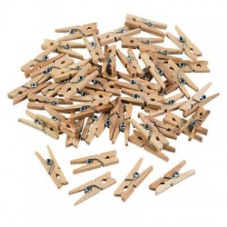 Mini Wooden Clothes Pegs - 50 pack