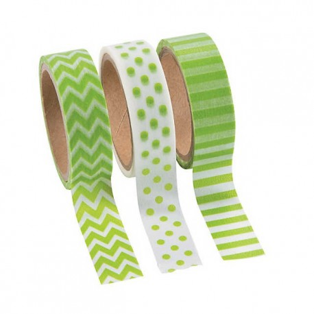 Green Washi Tape- 3 Pack