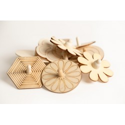 Wooden Shaped Spinning Tops