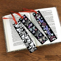 Colour Your Own Fuzzy Heart Bookmarks -12 Pack