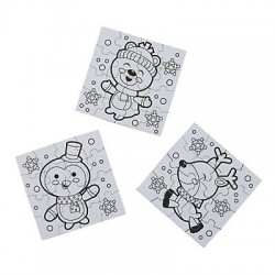 Colour Your Christmas Friends Mini Puzzle -50 pack
