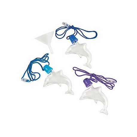Plastic Dolphin Sand Art Necklaces - 12pack