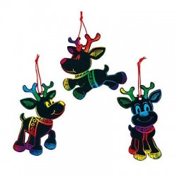 Magic Colour Scratch Reindeer Christmas Ornaments - 24pack